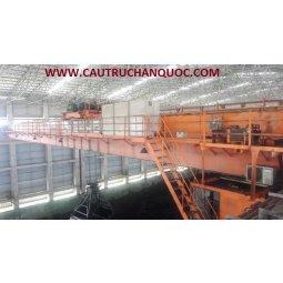 Cầu trục gầu ngoặm 20 tấn Hàn Quốc lắp nhà máy than khoáng sản